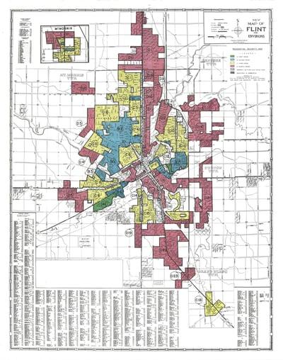 Redlined map of Flint, Michigan