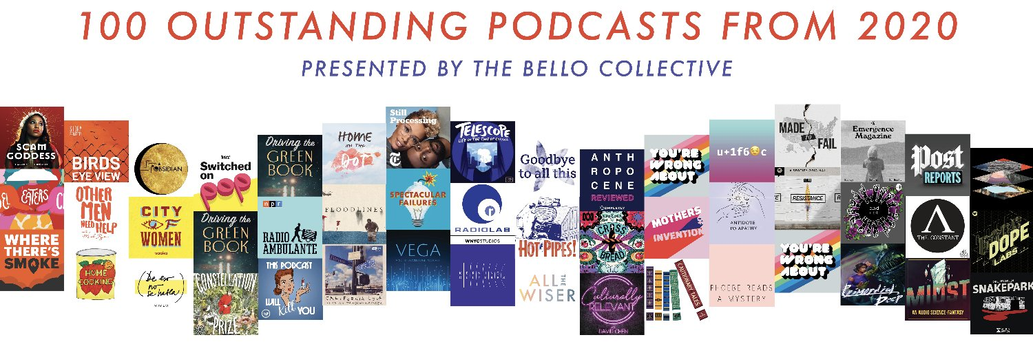 Collage of various podcast logos named to Bello Collective's 'Outstanding' podcast list