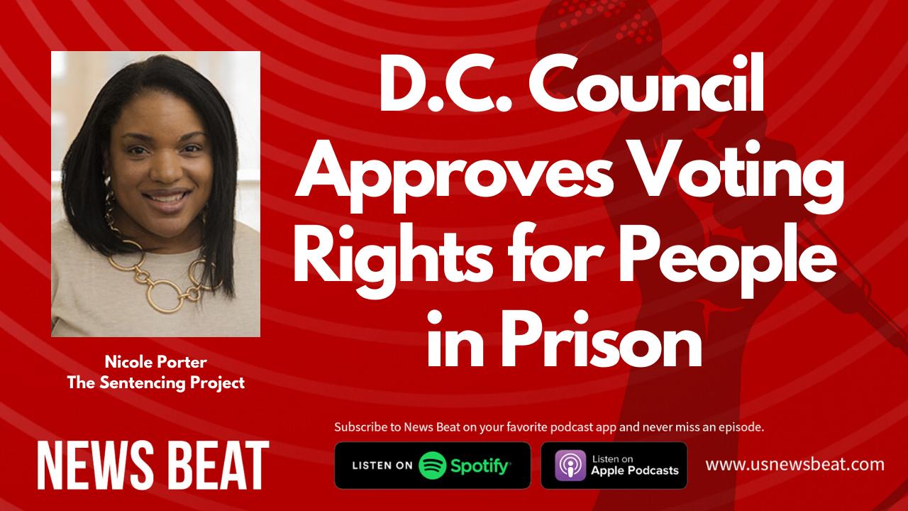"Nicole Porter headshot, plus headline ""D.C. Council Approves Voting For People in Prison"""